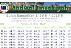 Jadwal Imsakiyah Pekanbaru Dan sekitarnya tahun 2015